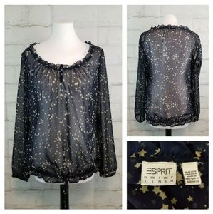 Esprit L Blue w/ Gold Stars Sheer Peasant Blouse